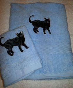 BLACK CAT PERSONALISED TOWEL SET